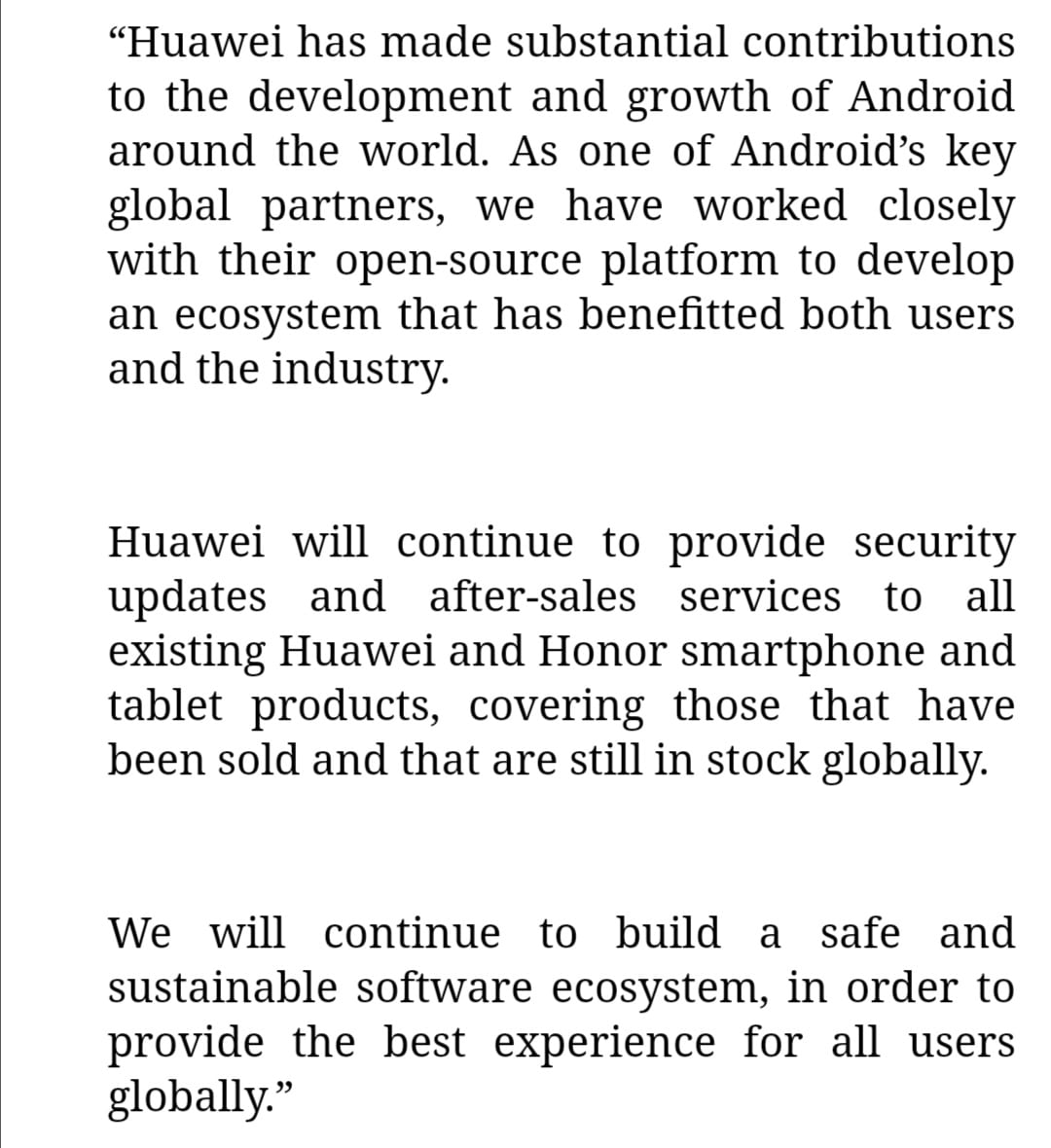Huawei/Honor statement regarding Android support