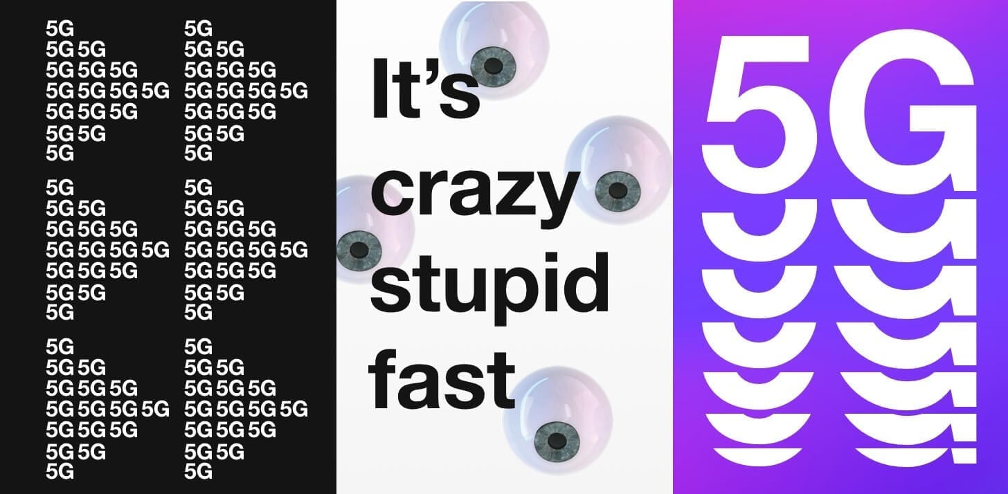 "Three advert saying ""it's crazy stupid fast"""